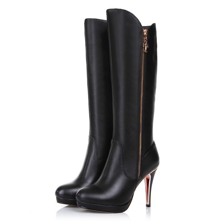 Free shipping 2017 New Black Sexy Genuine leather Knee-high boots thin Heels Boots round Toe for women long boots plus size34-45 new arrival plus size 40 41 popular shoes full grain leather boots high quality retro style round toe women boots free shipping