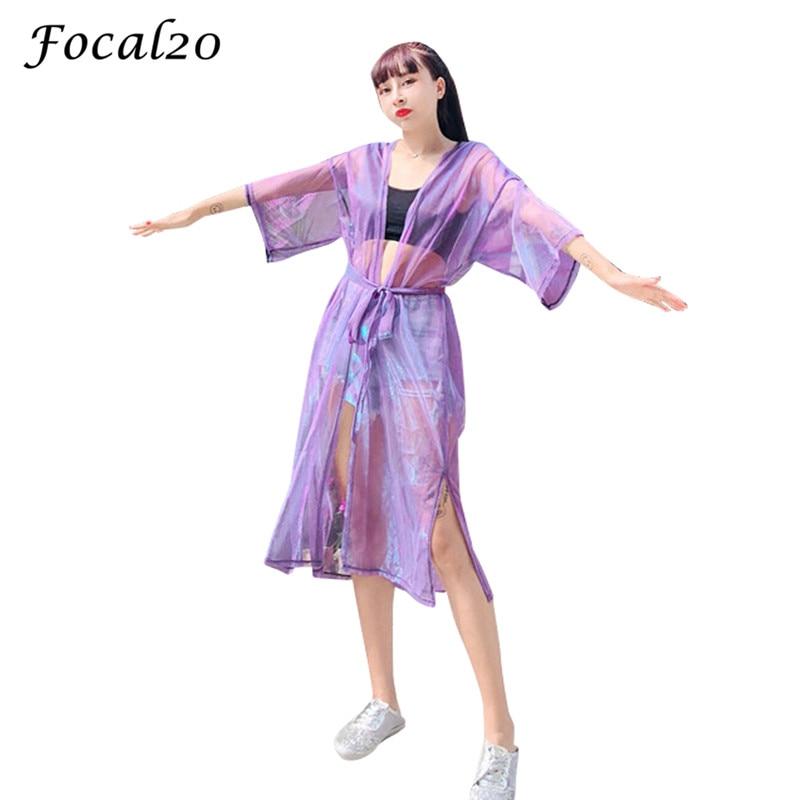 Focal20 Streetwear Mesh Laser Slit Women Cardigan Summer Long Sleeve Cardigan Sunproof Open Stitch Outwear