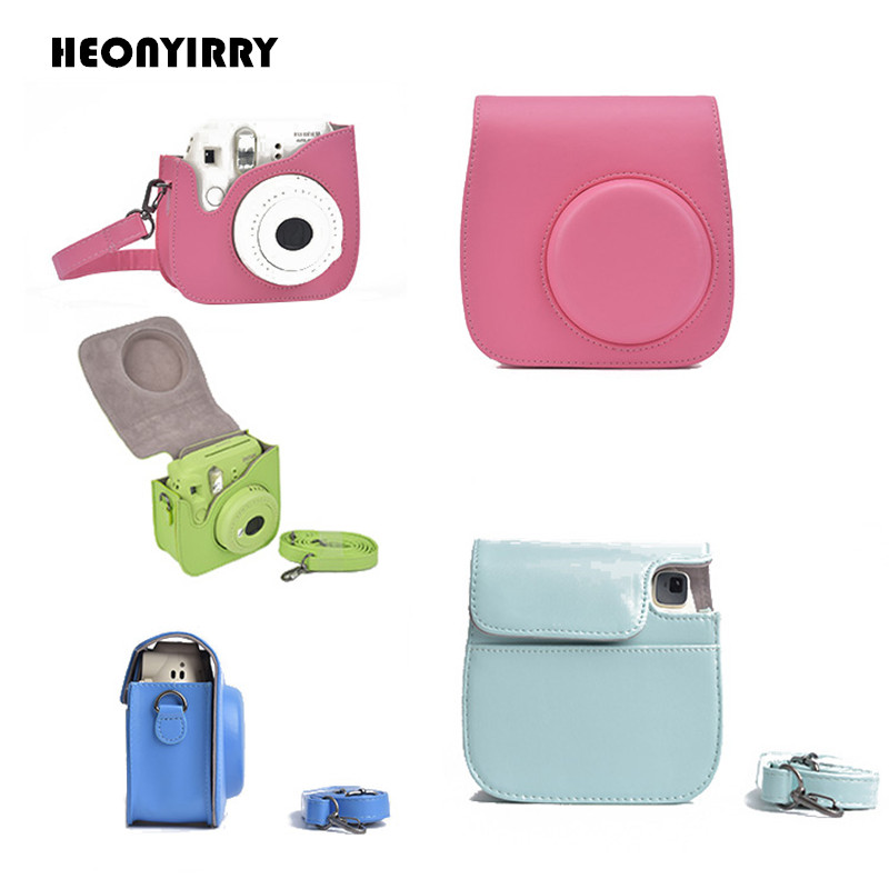 HEONYIRRY PU Instant Camera Bag Case for Fujifilm Instax Mini 9 Mini 8 8+ Leather Camera Shoulder Bags Protect Case with Strap