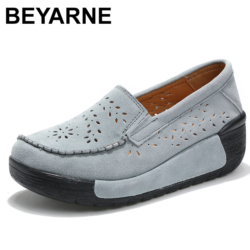 BEYARNE spring women shoes platform shoes hand-sewn   leather     suede   casual shoes slip on flats tassels creepers Laidis Shoes