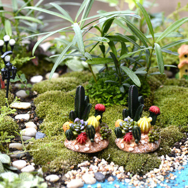 Cactus Fake Potted Plant Fairy Garden Miniatures Micro Landscape Resin Crafts Bonsai Figurine Garden Terrarium Accessories