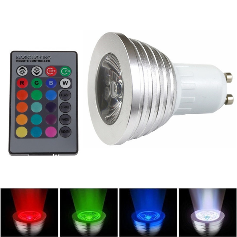 1X GU10 AC 85V-265V 110V 220V 16 Colorful Changeable RGB LED Spotlight Bulb 3W Christmas Decor Light Lamp+IR Remote Controller