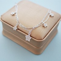 Fashion 925 Sterling Silver Luckly Star Charm Bracelet Double Chain Fine Jewelry For Women Custom Lady