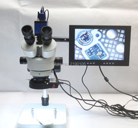 Trinocular Stereo Microscope 3.5X 90X Continuous Zoom Magnification Full HD 2.0MP VGA Camera LED Light Source 10 inch Monitor