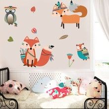 Tribal Animals Wall Stickers For Nursery Kids Rooms Bedroom Woodland Cartoon Foxes Owls Removable PVC Art Decals Home Decor