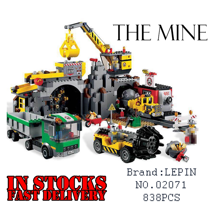 LEPIN City 02071 838PCS The Mine Building Blocks Bricks educational toys for children Christmas gifts compatible 4204 brinquedos decool 3114 city creator 3in1 vehicle transporter building block 264pcs diy educational toys for children compatible legoe