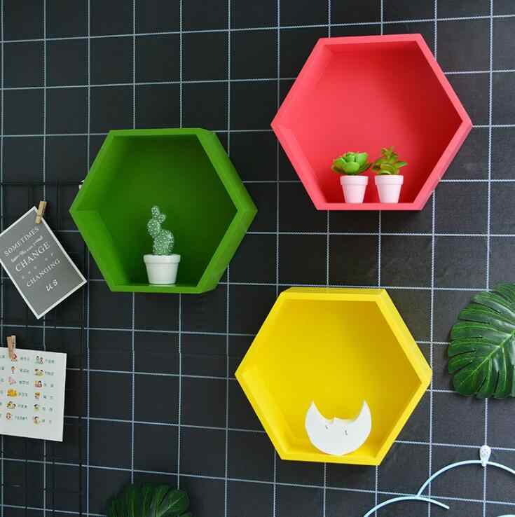 Nordic Home Wall Storage Holder Racks Solid Wood Hexagonal Rack Wall Decoration Shelf Color Wall Flower Pot Ornament Stand 04290