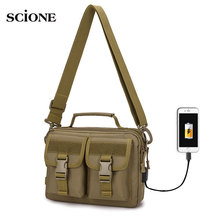 USB Molle Military Bag Tactical Messenger Bags Fanny Belt sac militaire Camping Outdoor Hunting Army Assualt tactique XA675WA