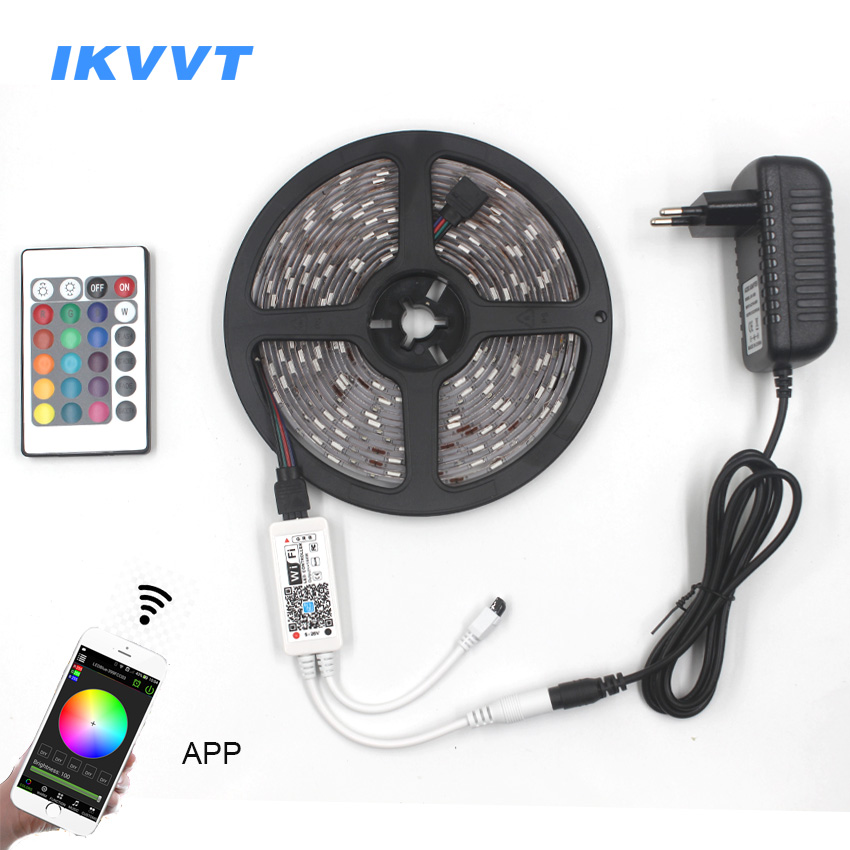 IKVVT 5050 RGB WIFI LED Strip light Waterproof 30LEDS/m RGB LED ribbon tape Remote WIFI Wireless Controller 12V Power Adapter