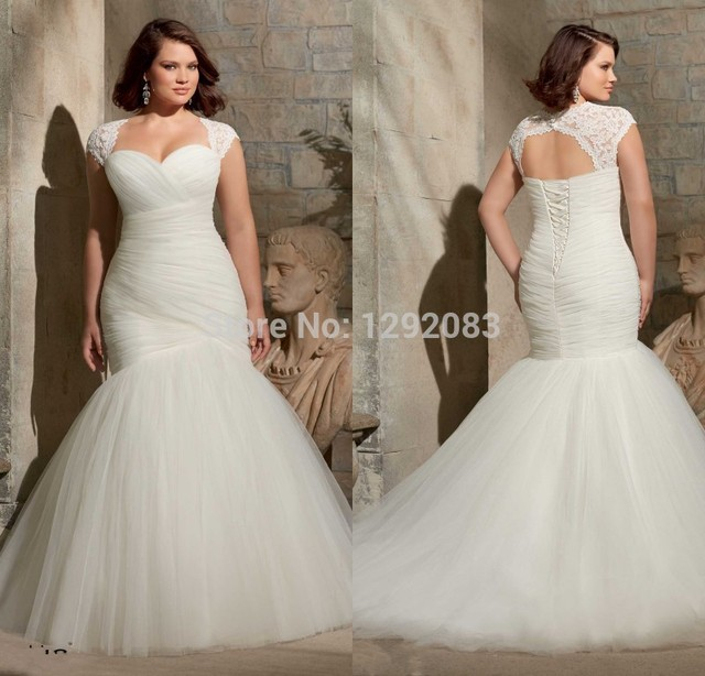 HotPlus Size Sweetheart Ruched Bodice Mermaid Lace Up Back Wedding Dress  2015 With Removable Lace Cap