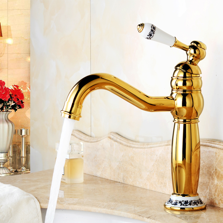 Modest Newly Wenzhou Faucet Bsthroom Copper Hot And Cold With Porcelain Mixer Swivel Spout Gold Plated Sink Taps G1093 Bathroom Fixtures