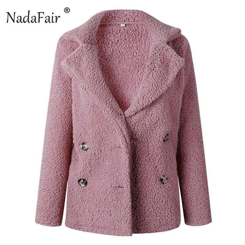 Nadafair plus size fleece faux fur jacket coat women winter pockets thicken teddy coat female plush overcoat casual outerwear 25