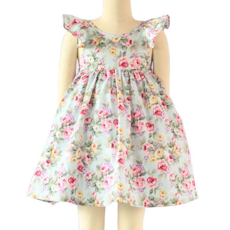 560534ec5 toddler girls unicorn print cotton cross straps backless dress ...