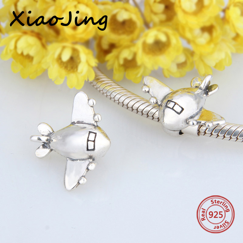 New arrival 925 Sterling Silver The Plane Toy Shape Charm Bead Fit pandora Bracelets Berloque pendant beads jewelry making Gift in Beads from Jewelry Accessories