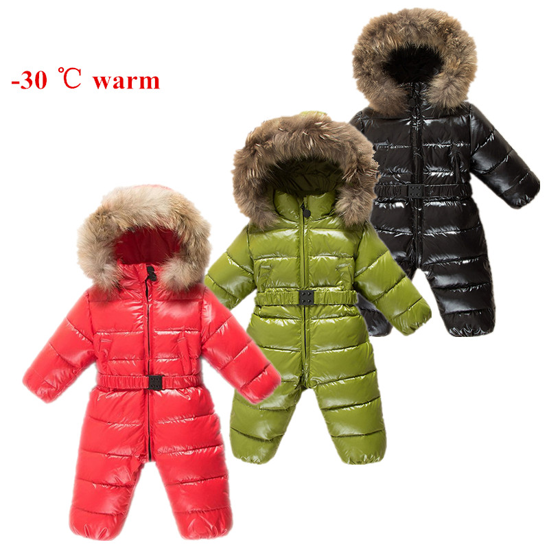 Winter Baby Rompers clothes Children Duck Down Jumpsuit Real Fur Newborn Overalls For Infants Boys Girls Jumpsuit Outerwear -25 baby clothes baby rompers winter christmas costumes for boys girl zipper rabbit ear newborn overalls jumpsuit children outerwear