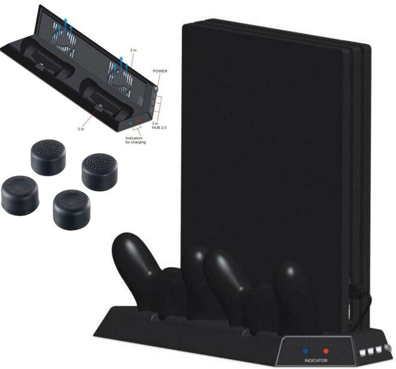 PS4 Pro vertikalaus stovo aušintuvo aušinimo ventiliatoriaus dvigubo valdiklio įkrovimo stotelės stotis 3 HUB PS4 Pro konsolės saugojimo laikiklio laikikliui