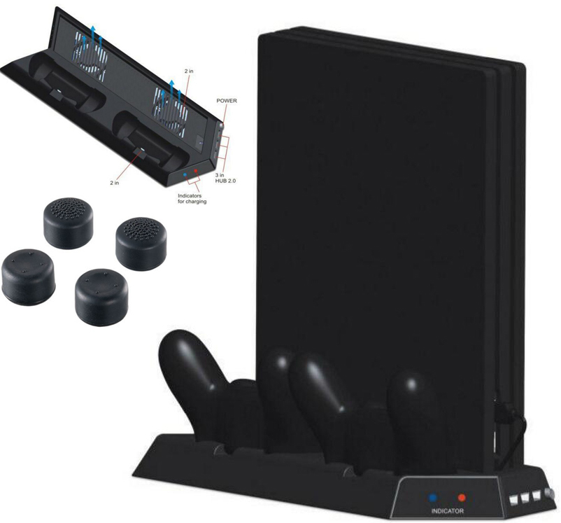 PS4 Pro Vertical Stand with 2 Cooling Fans,LED Indicator Dual Controller Charging Station and 3 HUB Ports For PS4 Pro Console