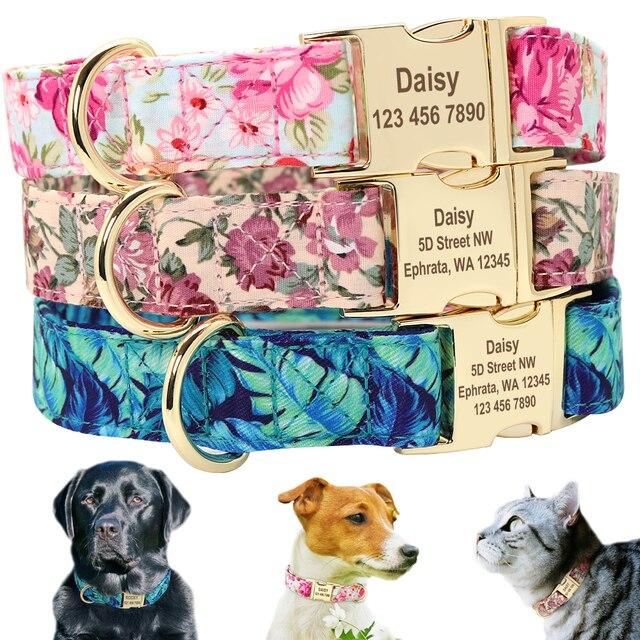 Coleira de identificação de animais de estimação, placa de identificação personalizada em nylon ajustável para cães de médio e grande porte
