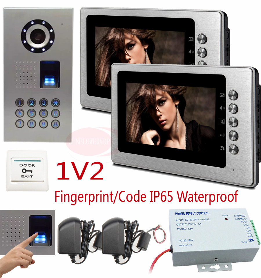 Home Security 7 inch TFT LCD Monitor Video Door phone Intercom System With Night Vision Outdoor Camera Fingerprint/code unlock 7 inch video doorbell tft lcd hd screen wired video doorphone for villa one monitor with one metal outdoor unit night vision