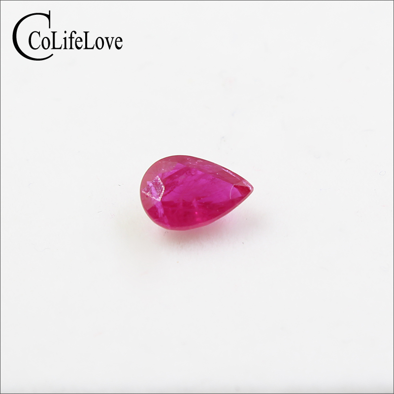 1ct Real Natural Ruby Gemstone 6mm * 8mm Natural Pear Cut Ruby Loose Stone for Jewelry Maker