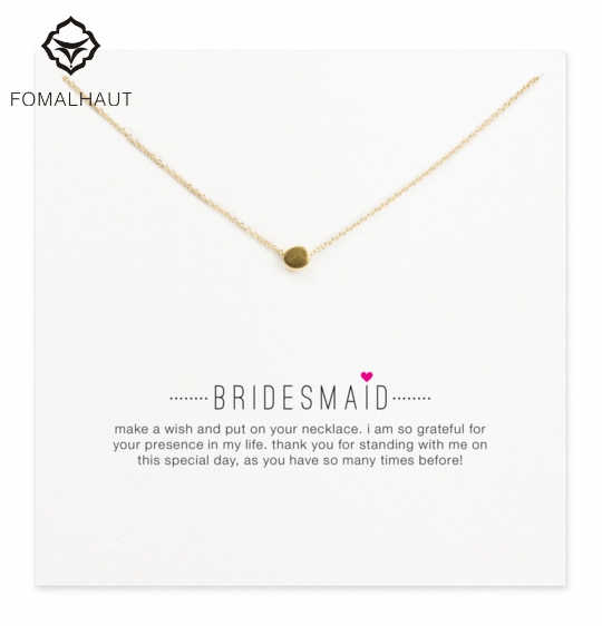 Hot Sale Sparkling bridesmaid circle necklace Pendant necklace Clavicle Chains Fashion Necklace Women Jewelry