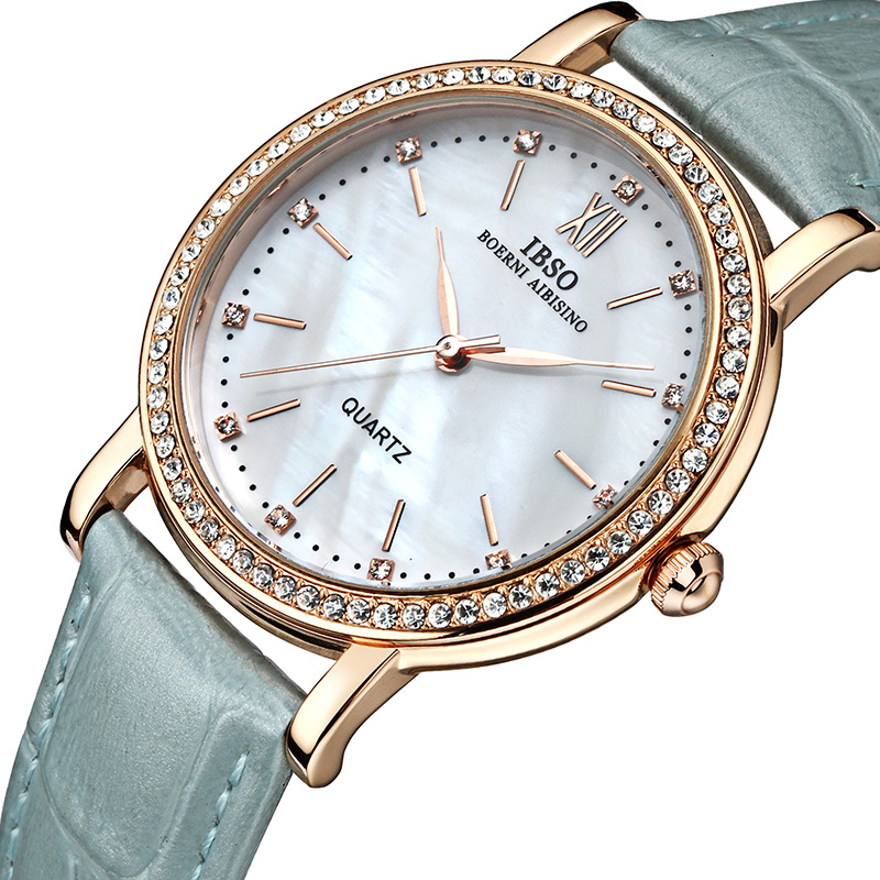 IBSO Merk Mode Dameshorloges Lederen band Horloge Dames Luxe Kristal - Dameshorloges - Foto 3