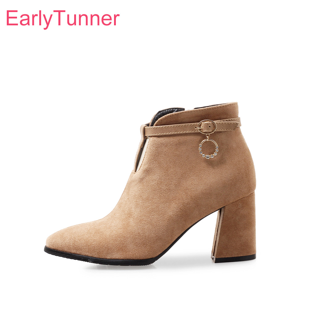 Brand New Hot Sexy Apricot Brown Women Ankle Nude Boots Office Lady Dress Shoes High Heels EK187 Plus Big Small Size 10 32 43 47 brand new sexy women motorcycle boots black red beige white lady ankle riding shoes fashion nude heels ay902 plus big size 43 48