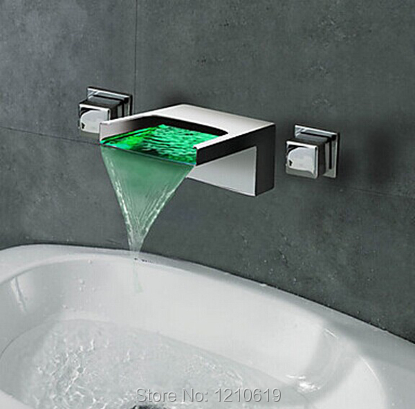 US Free Shipping Wholesale And Retail Contemporary Chrome Finish Waterfall Bathroom Sink Faucet LED Color Changing Wall Mounted