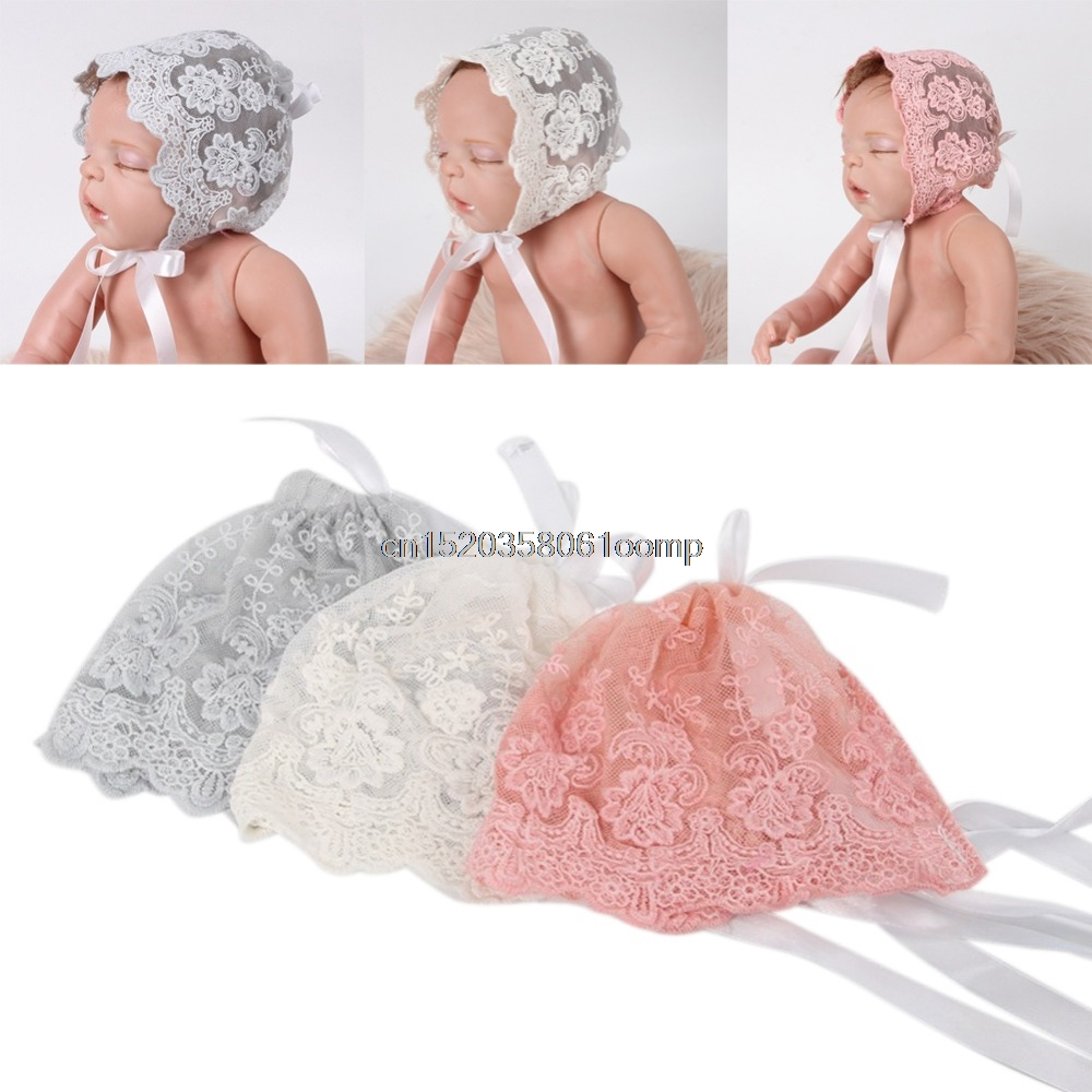 Baby Infant Newborn Girls Kids Lace Floral Hat Cap Beanie Bonnet Hats Photo Prop