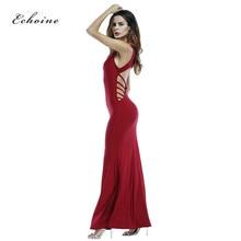 Echoine Women Dress O-Neck Sleeveless Sexy Hollow Out Thin Strip Slim Soft Plus Size Maxi Long Charming Vestido Summer Clothes