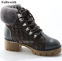 2018 Winter Warm Boots Platform Fur Brand Design Snow Boots Front Lace Up Metal High Top