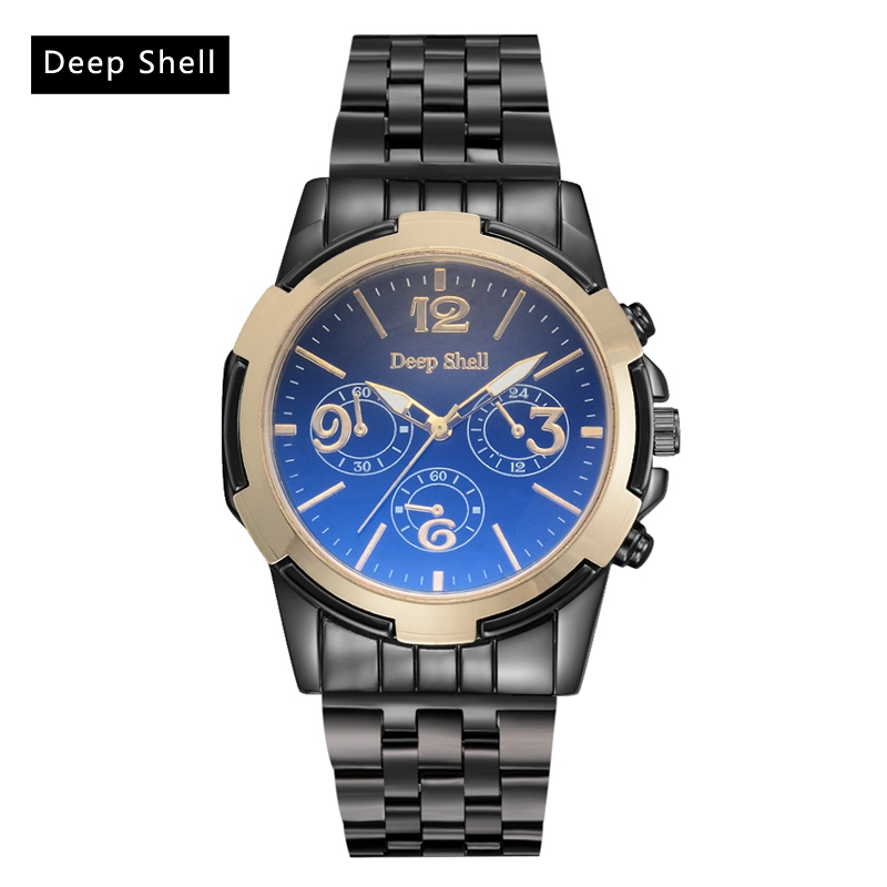 Deep Shell Brand Casual Men Watches Steel Strap Simple Fashion Quartz Dress Watch Men Sports Military Army Male Gift Wristwatch weide new men quartz casual watch army military sports watch waterproof back light men watches alarm clock multiple time zone