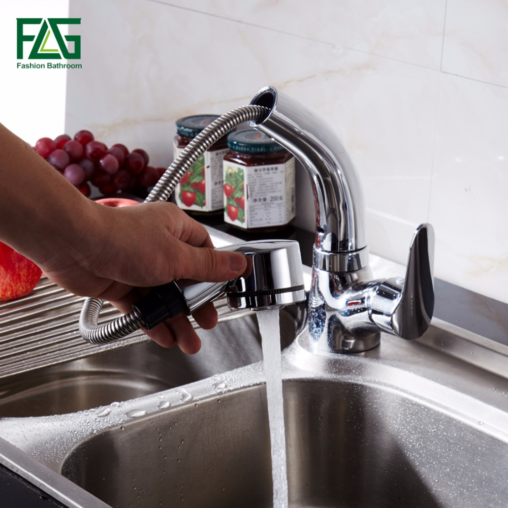 FLG Kitchen Faucet Mixer Tap Pull Out Spray Cold and Hot Tap Water Faucet Kitchen Sink Faucet in Kitchen Faucets from Home Improvement