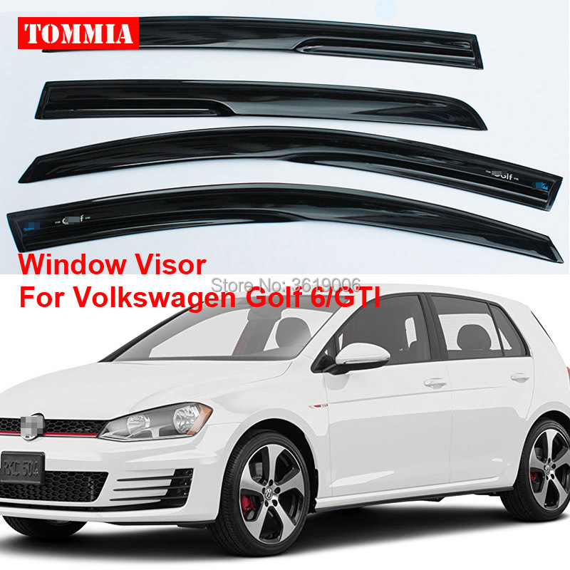 tommia For Volkswagen VW Golf 6 4pcs Window Visor Shade Vent Wind Rain Deflector Guards Cover 2015 2017 car wind deflector awnings shelters for hilux vigo revo black window deflector guard rain shield fit for hilux revo