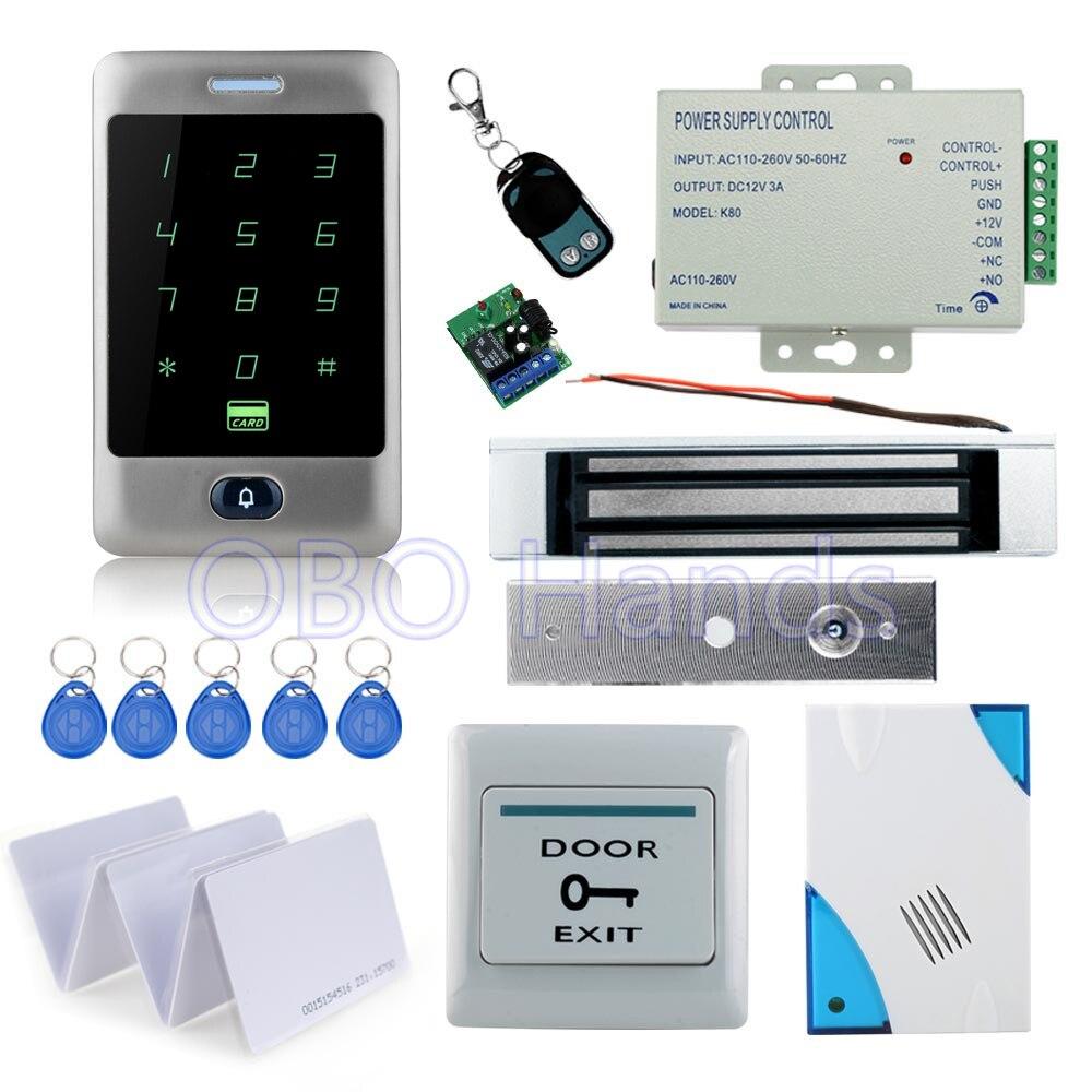Completo impermeabile di controllo di accesso C30 della tastiera di tocco + 180 KG serratura magnetica + alimentazione + tasto di uscita + 10 pcs carte di chiave + telecomando