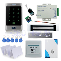 Full waterproof access control C30 touch keypad+180KG magnetic lock+power supply+exit button+10 pcs key cards+remote control