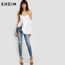 SHEIN Bleach Wash Ripped Skinny Jeans Summer Blue Boyfriend Jeans for Women Low Waist Zipper Fly Casual Female Jeans