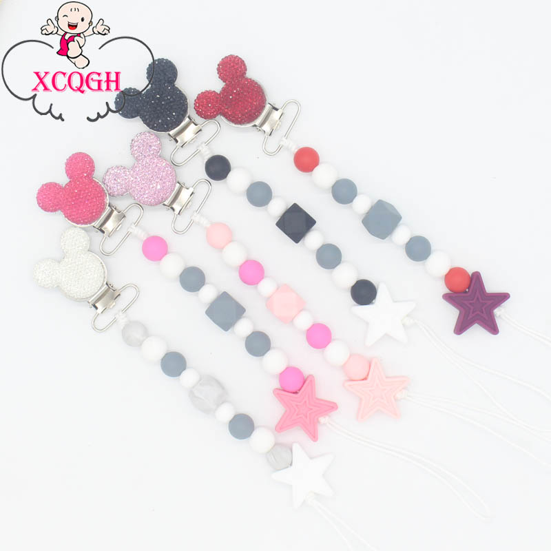 XCQGH 1Pcs Bling Bling Baby Boy Girl Pacifier Holder Chain Chew Silicone Beads Infant Pacifier Clip
