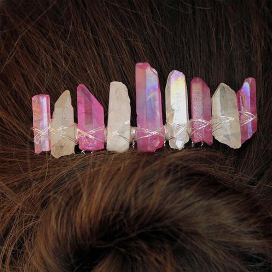 Crystal Quartz Hairclip Gemstone Hair Ornament Blue Silver Accessories Women Bridal Hair Barrette