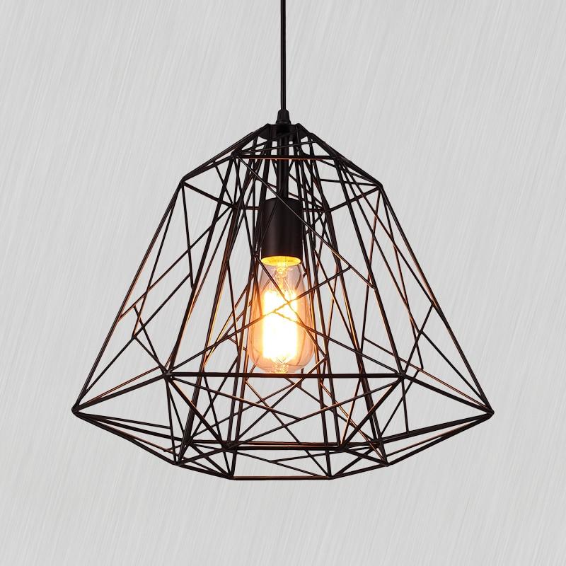 Retro indoor lighting Vintage Black Iron diamond Pendant Lights industrial Pendant Lamp for Loft living room light bar dinning
