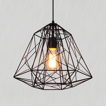 Retro indoor lighting Vintage Black Iron diamond Pendant Lights industrial Pendant Lamp for Loft living room light bar dinning