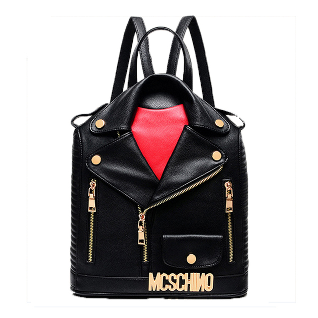 2017 Fashionable School Bags for Teenage Girls Black Leather Backpacks for Teens Personality Clothes British Cool Backpack Women