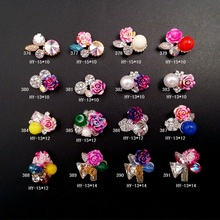 New Style Beauty Resin Flower Design With Pearl Color Rhinestone 3D Nail Art Decoration DIY Cute Accessories LRL