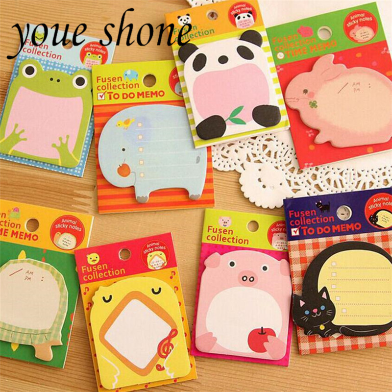 4pcs Creative Stationery Forest Animal Series Cute Paper Memo Pad / Sticker Post Sticky Notes Notepad Student Office Supplies