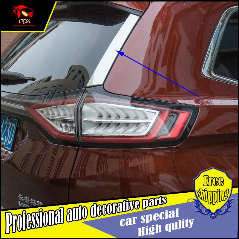 2PCS Car Styling Rear Window Side Wing Cover <font><b>Sticker</b></font> For Ford Edge 2015 2016 <font><b>back</b></font> door Exterior Decoration Accessories
