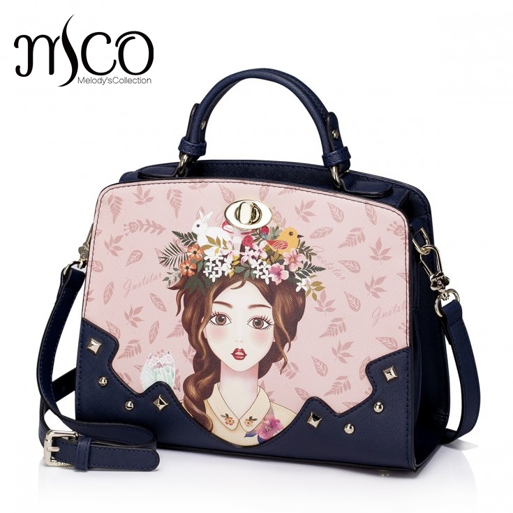 Women Shoulder Bags Female Messenger Bag Handbags Totes Borsa Braccialini Brand Design Cartoon Girl Illustration top-handle bags джинсы revolution 5335 rinse 30 32