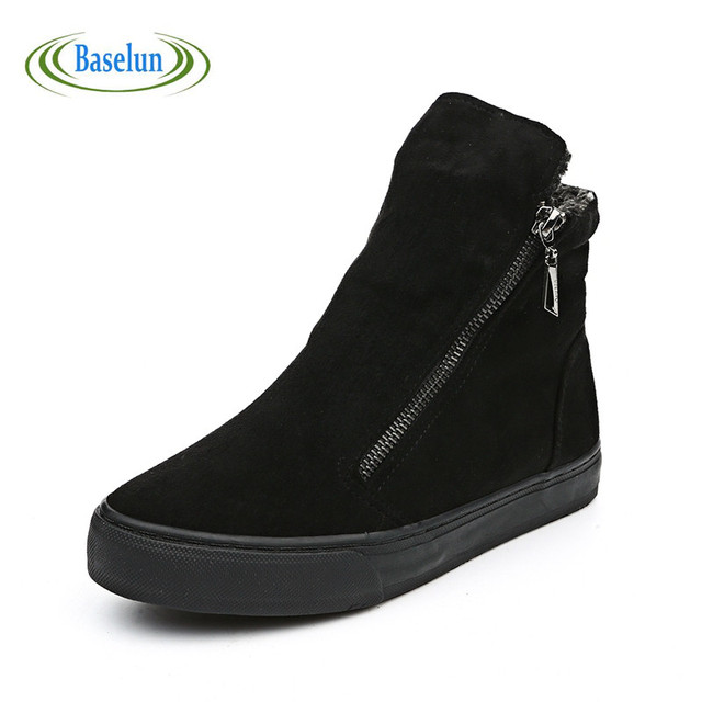 Nueva Moda de Invierno Cálido Algodón de Las Mujeres Zapatos Casuales Botines Mujer zapatos de Senderismo de Otoño Zapatos de Lona Con Cremallera