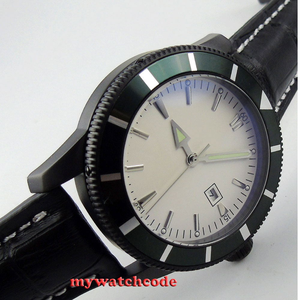 46mm white dial luminous marks date PVD case automatic mens watch Bi19 цена и фото