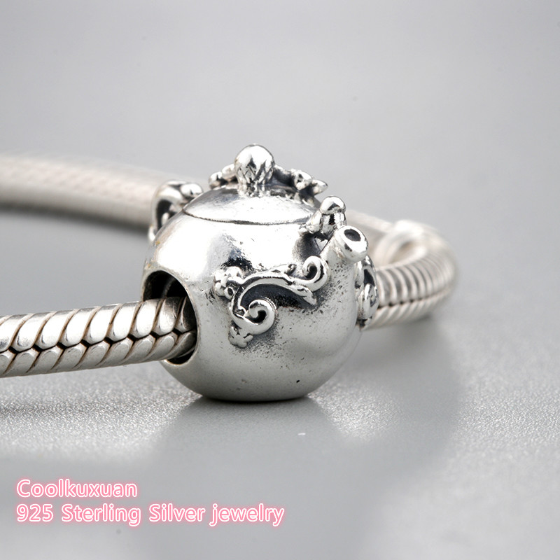 Teapot Charm Bead 925 Sterling Silver