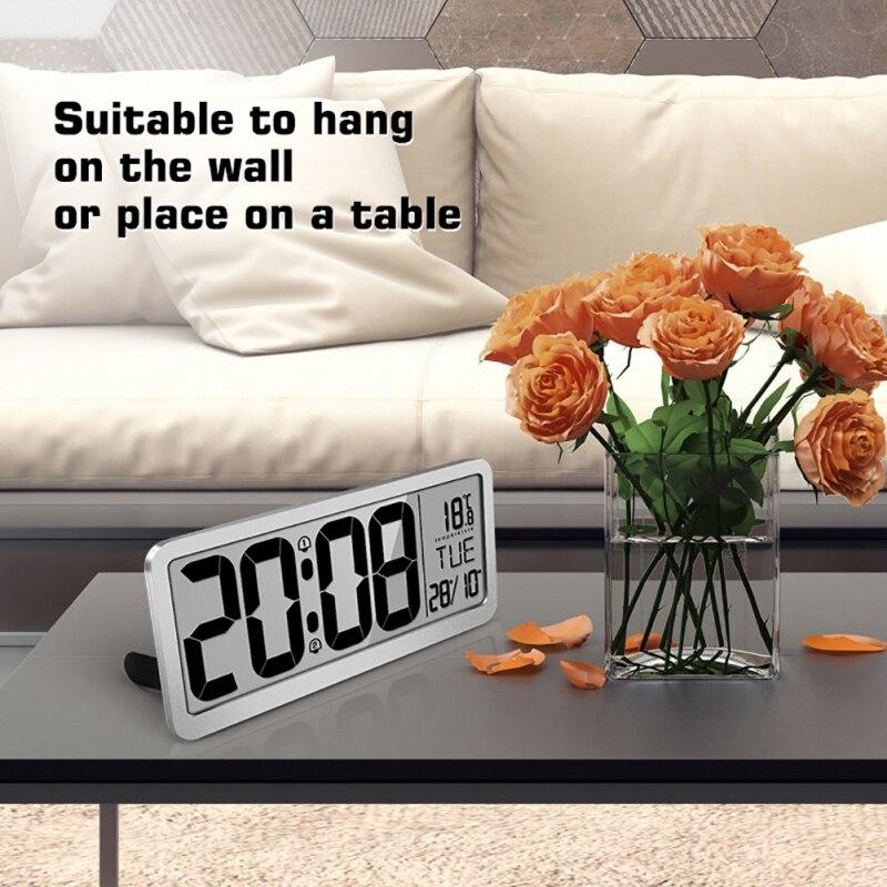 หน้าจอขนาดใหญ่ LCD Digital Display Clock ห้องนั่งเล่นแขวนผนังนาฬิกาปฏิทินวันที่อุณหภูมิจอแสดงผลเอนกประสงค์เครื่องมือ-ใน นาฬิกาแขวนผนัง จาก บ้านและสวน บน   1